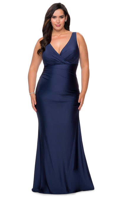 La Femme - 29028 V Neck Fitted Trumpet Dress In Blue