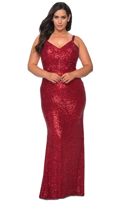 La Femme - 29037 Strappy Sequin V Neck Sheath Dress In Red