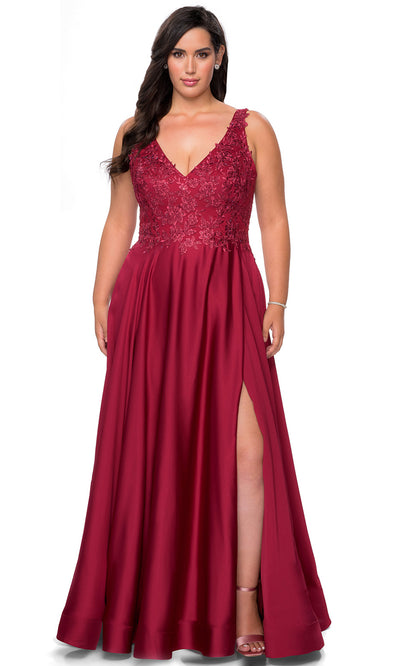 La Femme - 29039 Beaded Lace Satin A-Line Gown In Red