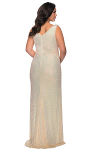 La Femme - 29046 Faux Wrap Plunging Neck High Slit Sequin Gown In Champagne & Gold