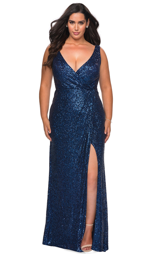 La Femme - 29046 Faux Wrap Plunging Neck High Slit Sequin Gown In Blue