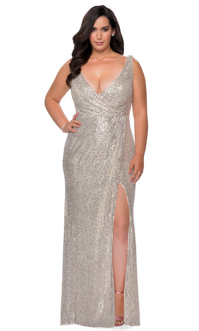 La Femme - 29046 Faux Wrap Plunging Neck High Slit Sequin Gown In Silver & Gray