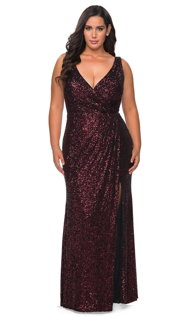La Femme - 29046 Faux Wrap Plunging Neck High Slit Sequin Gown In Red