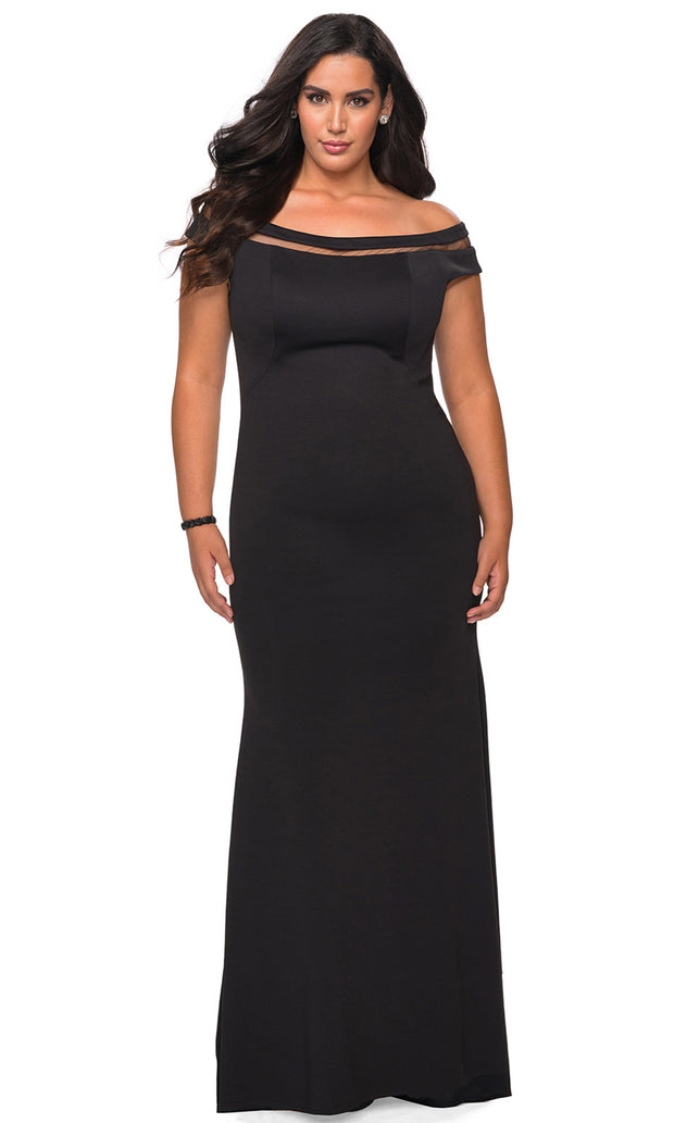 La Femme - 29049 Off Shoulder Fitted Evening Dress In Black