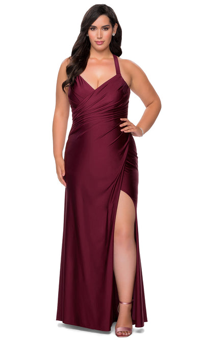 La Femme - 29062 Ruched V Neck Sheath Dress In Purple