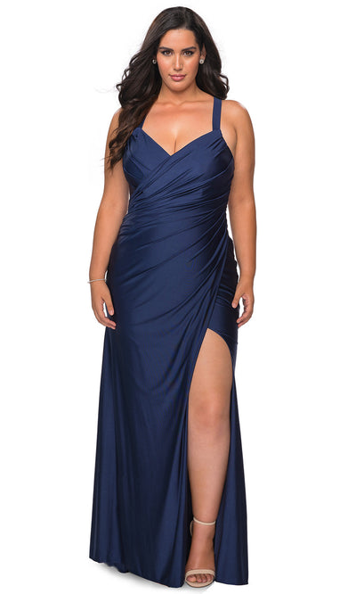 La Femme - 29062 Ruched V Neck Sheath Dress In Blue