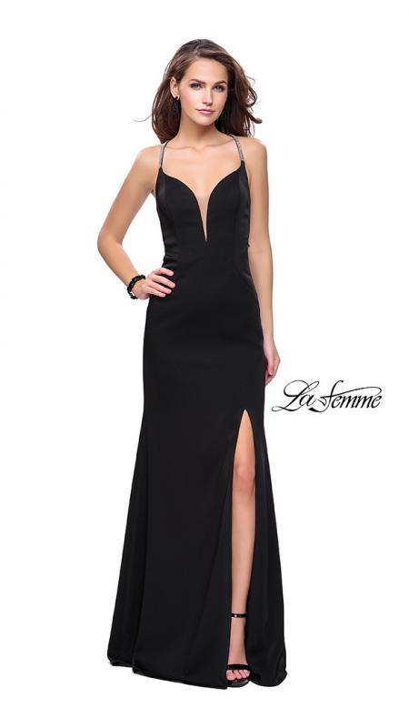 La Femme 25398 black prom dress. This is a beautiful black open back prom dress. It features a plunging v neck with a high slit. Sleek and sexy prom dress