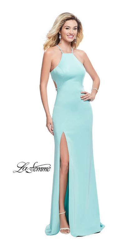 La Femme 25459 aqua prom dress. This is a beautiful light blue open back prom dress. It features a high neck with a high slit. Sleek and sexy prom dress