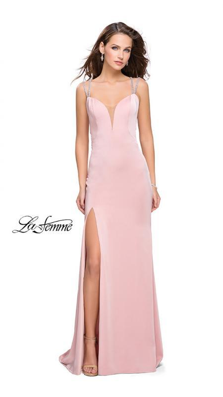 La Femme 25660 blush prom dress. This is a beautiful pink open back prom dress. It features a v neck with a high slit. Sleek and sexy prom dress