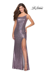 La Femme LF28177 long lavender gray prom tight fitted, one shoulder, sequin beaded sexy prom dress with high slit. This lilac off shoulder sleek and sexy, leg slit, beaded formal full length evening gown is perfect for 2020 prom dresses