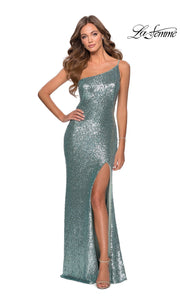 La Femme LF28177 long mint green prom tight fitted, one shoulder, sequin beaded sexy prom dress with high slit. This light green off shoulder sleek and sexy, leg slit, beaded formal full length evening gown is perfect for 2020 prom dresses