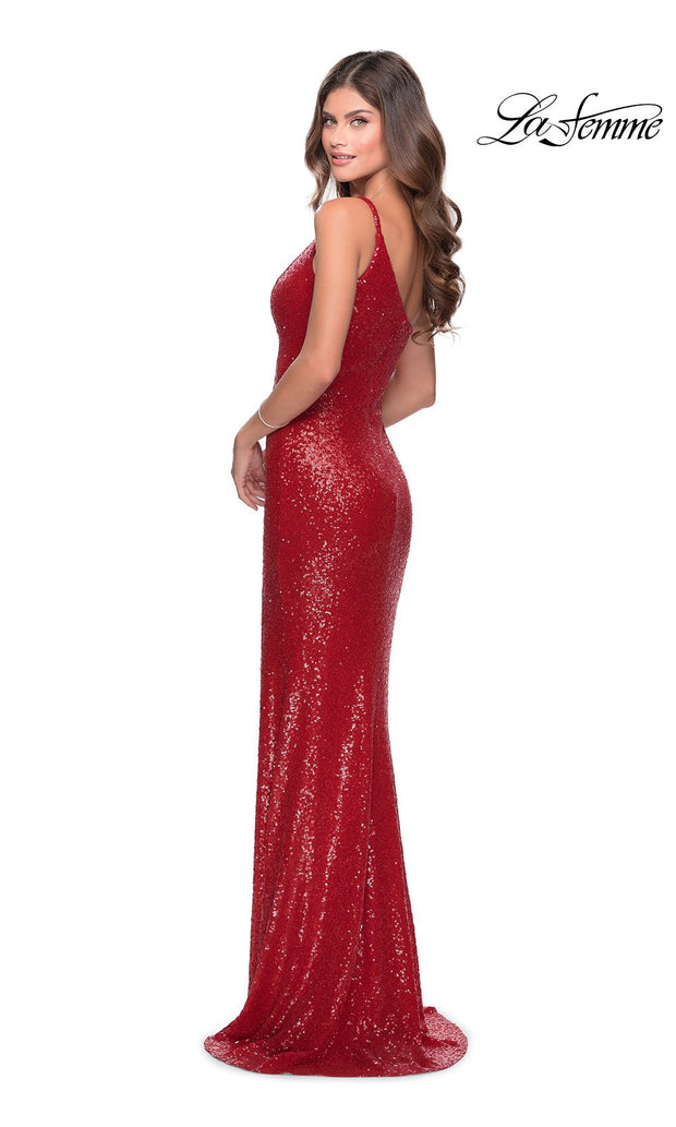 La Femme LF28177 long red prom tight fitted, one shoulder, sequin beaded sexy prom dress with high slit. This back of red off shoulder sleek and sexy, leg slit, beaded formal full length evening gown is perfect for 2020 prom dresses