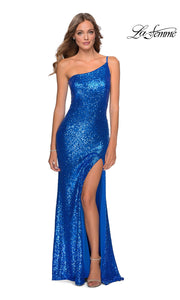 La Femme LF28177 long royal blue prom tight fitted, one shoulder, sequin beaded sexy prom dress with high slit. This bright blue off shoulder sleek and sexy, leg slit, beaded formal full length evening gown is perfect for 2020 prom dresses