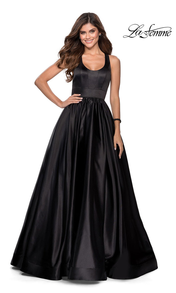 La Femme LF28281 long black prom flowy satin taffeta prom dress. This black princess semi ballgown a-line formal full length evening gown is perfect for 2020 prom dresses
