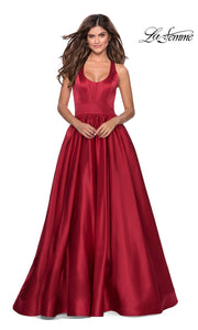 La Femme LF28281 long deep red prom flowy satin taffeta prom dress. This dark red princess semi ballgown a-line formal full length evening gown is perfect for 2020 prom dresses
