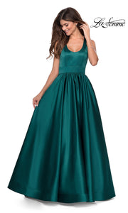 La Femme LF28281 long emerald green prom flowy satin taffeta prom dress. This dark green princess semi ballgown a-line formal full length evening gown is perfect for 2020 prom dresses