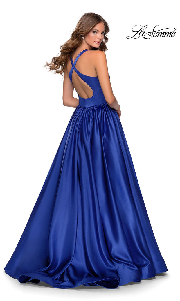 La Femme LF28281 long sapphire blue prom flowy satin taffeta prom dress. The back of royal blue princess semi ballgown with open back, a-line formal full length evening gown is perfect for 2020 prom dresses