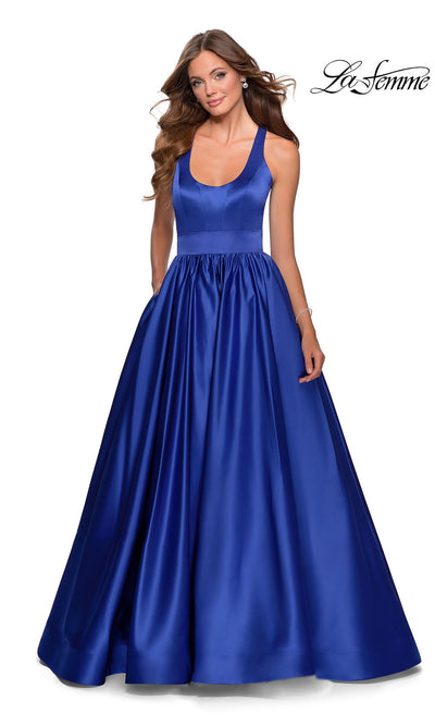 La Femme LF28281 long sapphire blue prom flowy satin taffeta prom dress. This royal blue princess semi ballgown with open back, a-line formal full length evening gown is perfect for 2020 prom dresses
