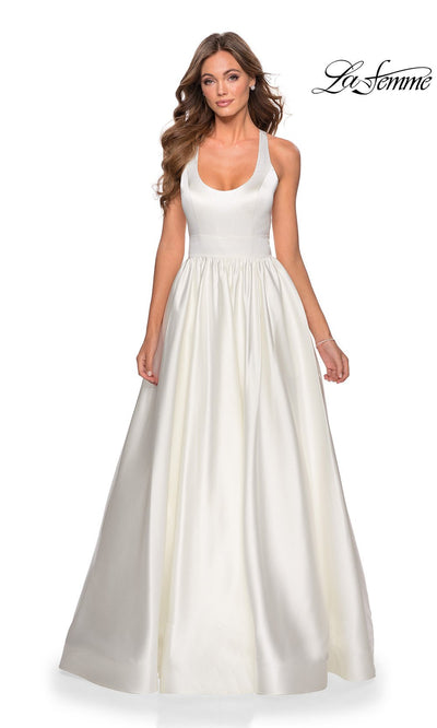 La Femme LF28281 long white prom flowy satin taffeta prom dress. This white princess semi ballgown with open back, a-line formal full length evening gown is perfect for 2020 prom dresses