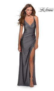 La Femme LF28289 long gunmetal grey prom tight fitted sexy prom dress with open back & high slit. This dark grey or charcoal sleek and sexy, low back formal full length evening gown with leg slit is perfect for 2020 prom dresses