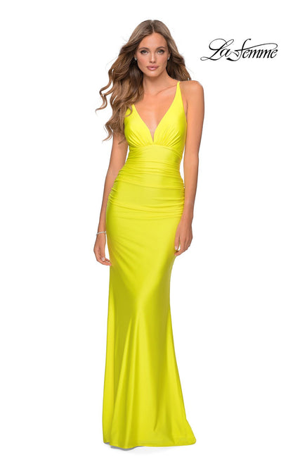 La Femme LF28297 long yellow prom tight fitted sexy prom dress with open back & low v neck. This yellow sleek and sexy, low back formal full length evening gown with leg slit is perfect for 2020 prom dresses