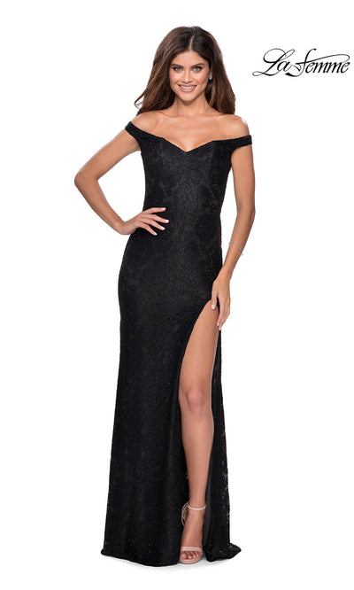La Femme LF28301 long black prom tight fitted sexy lace prom dress with off shoulder neckline & high slit. This black sleek and sexy, formal full length evening gown with leg slit is perfect for 2020 prom dresses