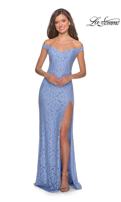 La Femme LF28301 long cloud blue prom tight fitted sexy lace prom dress with off shoulder neckline & high slit. This light blue or periwinkle sleek and sexy, formal full length evening gown with leg slit is perfect for 2020 prom dresses