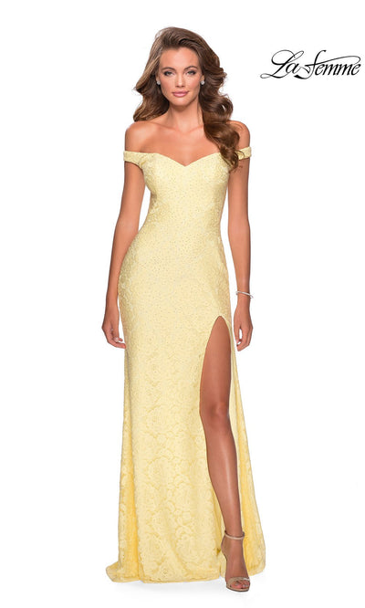 La Femme LF28301 long pale yellow prom tight fitted sexy lace prom dress with off shoulder neckline & high slit. This light yellow sleek and sexy, formal full length evening gown with leg slit is perfect for 2020 prom dresses