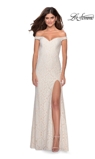 La Femme LF28301 long white prom tight fitted sexy lace prom dress with off shoulder neckline & high slit. This white sleek and sexy, formal full length evening gown with leg slit is perfect for 2020 prom dresses