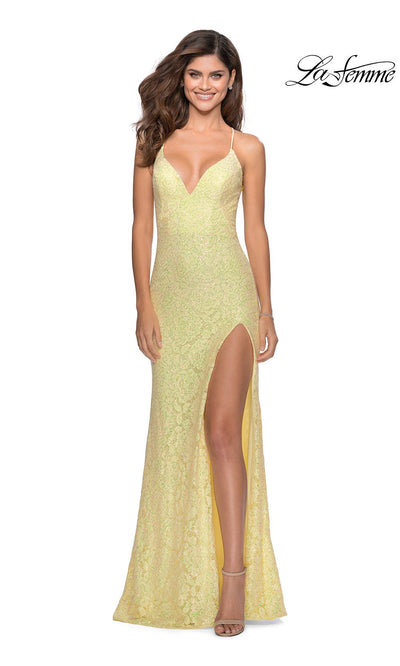 La Femme LF28359 long pale yellow prom tight fitted sexy prom dress with open back and v neckline. This light yellow lace sleek and sexy, low back formal full length evening gown is perfect for 2020 prom dresses