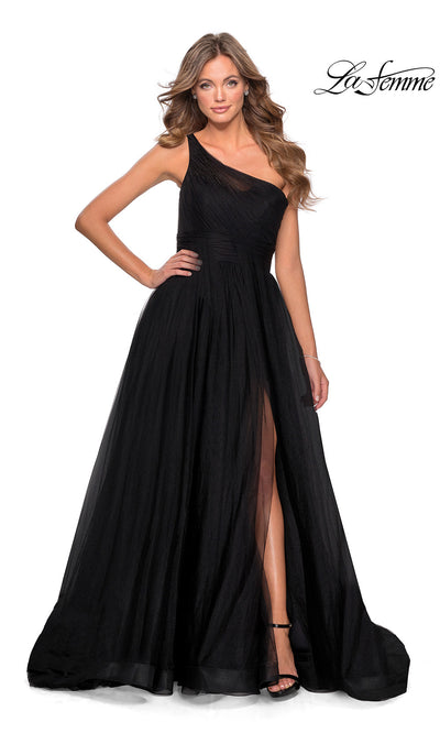 La Femme LF28383 long black prom flowy tulle one shoulder prom dress with high slit. This black princess semi ballgown a-line formal full length evening gown with leg slit is perfect for 2020 prom