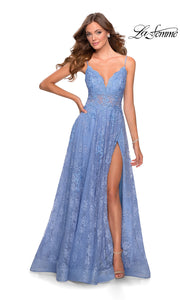 La Femme LF28386 long cloud blue prom flowy lace low v neck with straps prom dress with high slit. This light blue or periwinkle flowy, simple a-line formal full length evening gown with leg slit is perfect for 2020 prom dresses