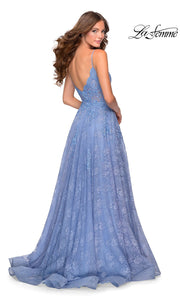 La Femme LF28386 long cloud blue prom flowy lace low v neckline with straps and low v back prom dress with high slit. The back light blue or periwinkle flowy, simple a-line formal full length evening gown with leg slit is perfect for 2020 prom dresses