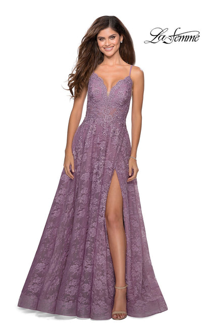 La Femme LF28386 long dusty lilac prom flowy lace low v neckline with straps and low v back prom dress with high slit. This purple pink flowy, simple a-line formal full length evening gown with leg slit is perfect for 2020 prom dresses