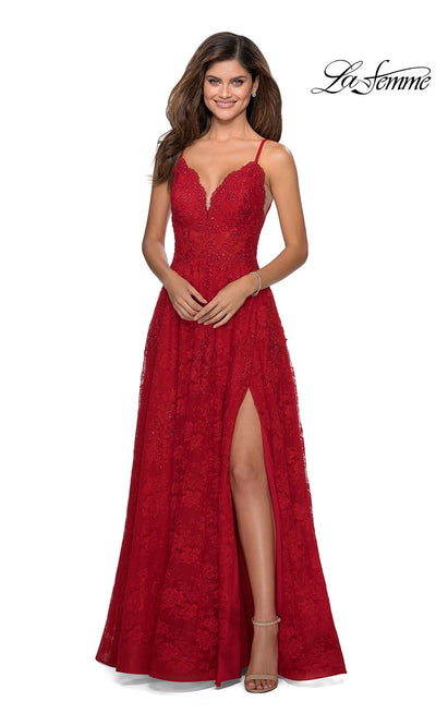La Femme LF28386 long red prom flowy lace low v neck with straps prom dress with high slit. This red flowy, simple a-line formal full length evening gown with leg slit is perfect for 2020 prom dresses