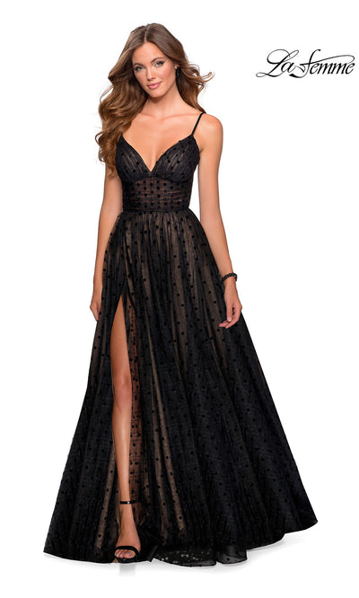 La Femme LF28400 long black nude tulle prom flowy low v neckline with straps prom dress with high slit. This black flowy, simple a-line formal full length tulle with polka dots evening gown with leg slit is perfect for 2020 prom dresses