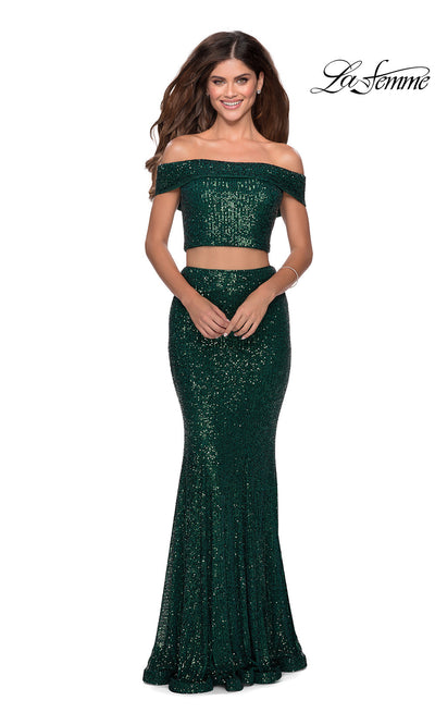 La Femme LF28425 long two piece emerald green prom fitted sequin beaded dress. This 2 piece gown has a fitted mermaid skirt and off shoulder top. This dark green or hunter green formal full length evening gown is perfect for 2020 prom dresses