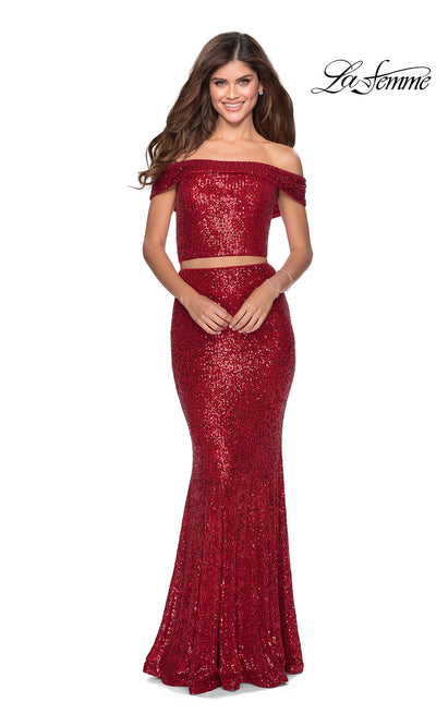 La Femme LF28425 long two piece red prom fitted sequin beaded dress. This 2 piece gown has a fitted mermaid skirt and off shoulder top. This dark red formal full length evening gown is perfect for 2020 prom dresses
