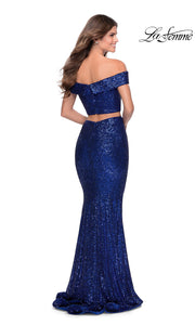 La Femme LF28425 long two piece royal blue prom fitted sequin beaded dress. This 2 piece gown has a fitted mermaid skirt and off shoulder top. The back of dark blue formal full length evening gown is perfect for 2020 prom dresses