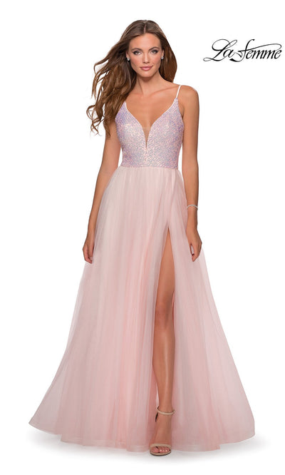 La Femme LF28464 long light pink tulle prom flowy dress with high slit and sequin beaded v neckline with straps. This light pink flowy, simple a-line formal full length tulle evening gown with leg slit is perfect for 2020 prom dresses