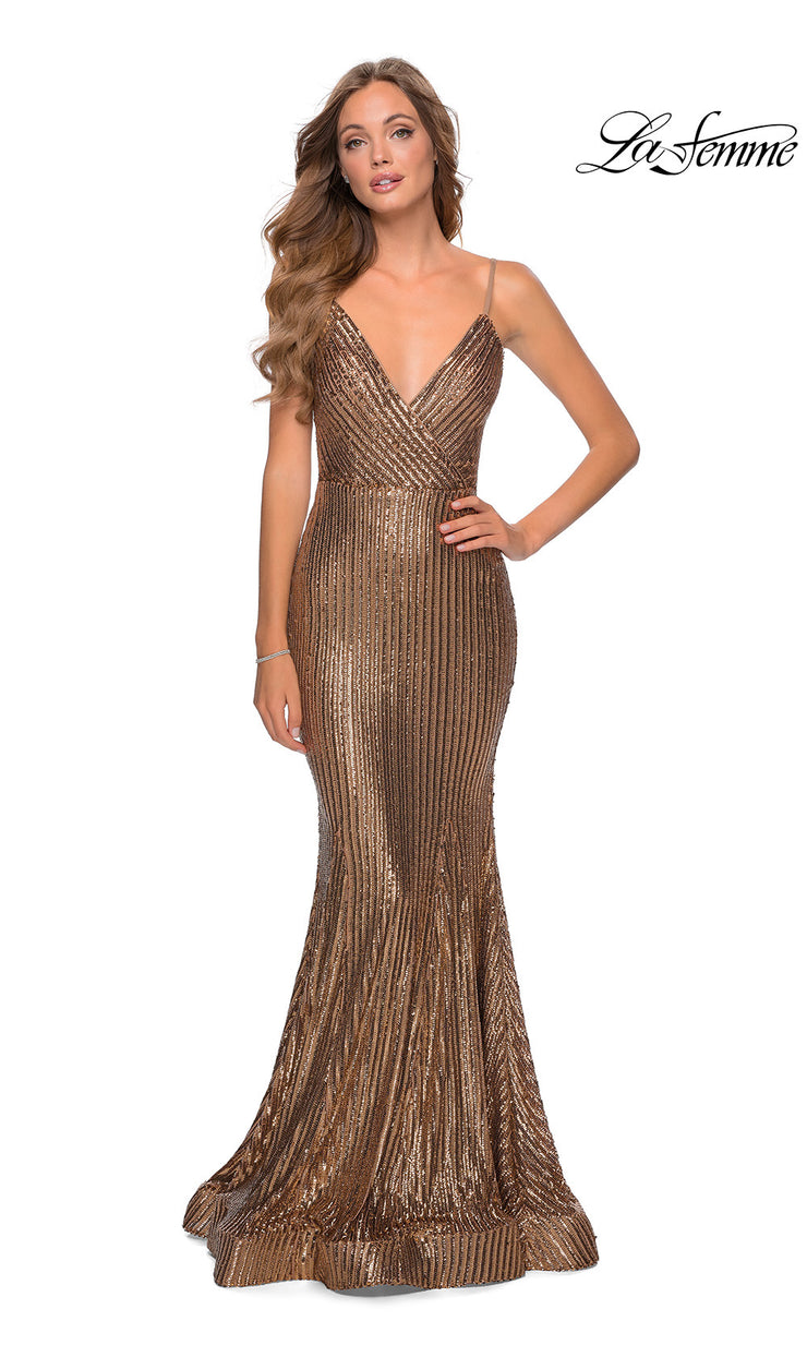 La Femme LF28469 long gold tight fitted sexy sequin beaded prom dress with open back, v neckline, mermaid silhouette. This gold simple, sleek and sexy, low back formal full length evening gown with trumpet style is perfect for 2020 prom dresses