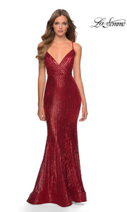 La Femme LF28469 long red tight fitted sexy sequin beaded prom dress with open back, v neckline, mermaid silhouette. This dark red simple, sleek and sexy, low back formal full length evening gown with trumpet style is perfect for 2020 prom dresses