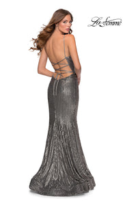 La Femme LF28469 long silver tight fitted sexy sequin beaded prom dress with open back, v neckline, mermaid silhouette. Back of dark grey sleek and sexy, low back formal full length evening gown with trumpet style is perfect for 2020 prom dresses