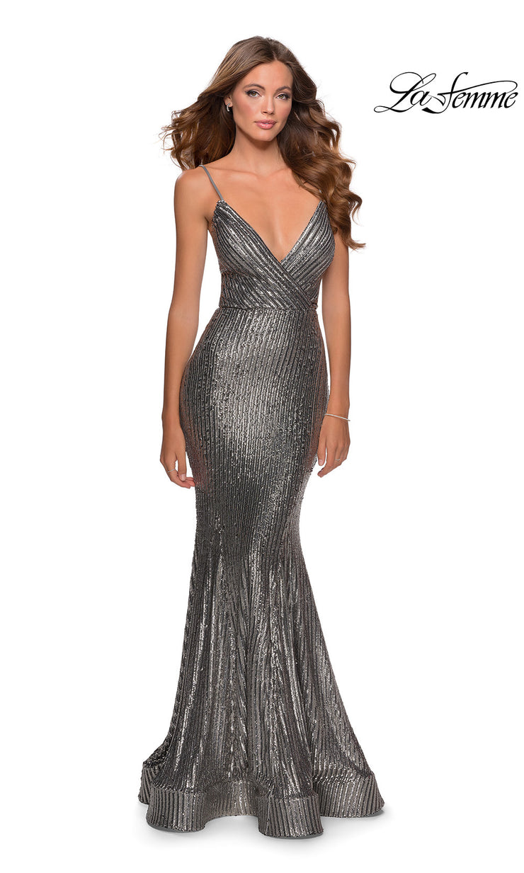 La Femme LF28469 long silver tight fitted sexy sequin beaded prom dress with open back, v neckline, mermaid silhouette. This dark grey simple, sleek and sexy, low back formal full length evening gown with trumpet style is perfect for 2020 prom dresses