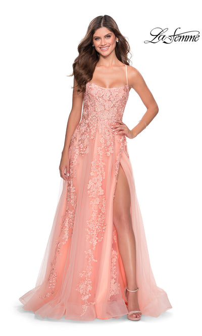 La Femme LF28503 long peach flowy lace sexy prom dress with open back, scoop neckline, flowy tulle & lace skirt with high slit. This simple, a-line, low back formal full length evening gown is perfect for 2020 prom dresses