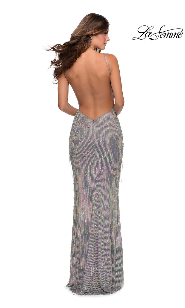 La Femme LF28517 long silver pink prom tight fitted sexy sequin beaded dress with open back & high neckline. Back of this silver & pink sleek and sexy, low back formal full length evening gown is perfect for 2020 prom dresses