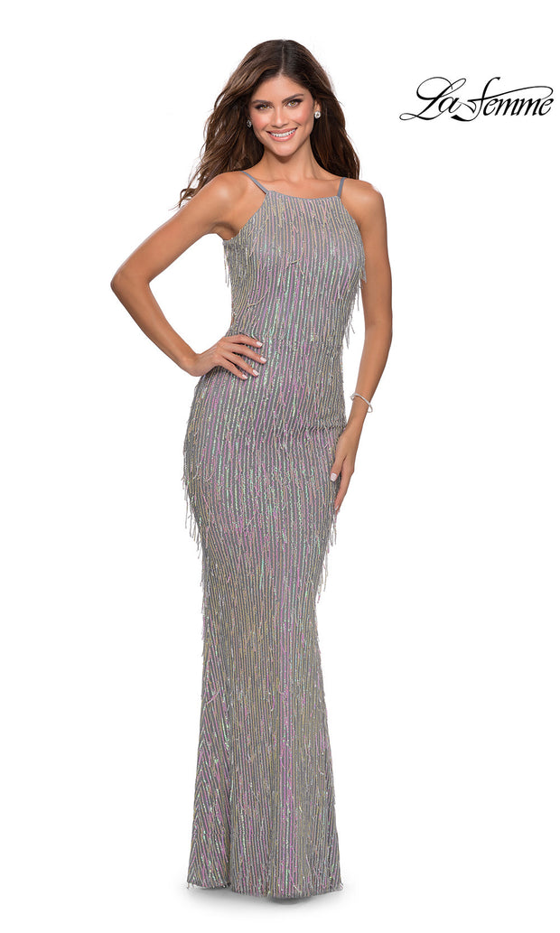 La Femme LF28517 long silver pink prom tight fitted sexy sequin beaded dress with open back & high neckline. This silver & pink sleek and sexy, low back formal full length evening gown is perfect for 2020 prom dresses
