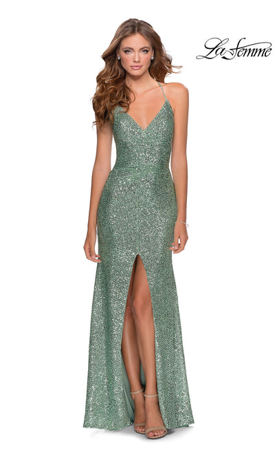 La Femme LF28525 long mint green prom tight fitted sexy sequin beaded prom dress with open back, v neck with straps, & high slit. This light green sleek and sexy, low back formal full length evening gown is perfect for 2020 prom dresses