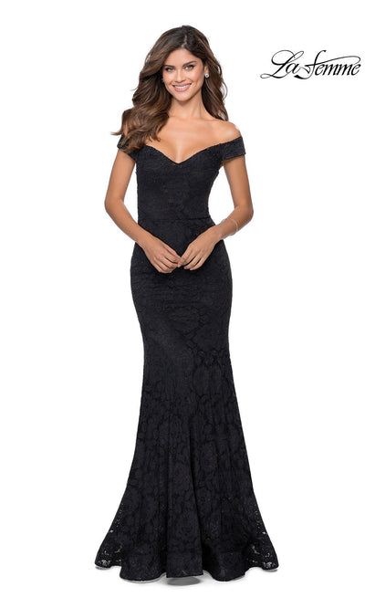 La Femme LF28545 long black prom tight fitted, off shoulder mermaid, lace sexy prom dress with open back. This black v neck sleek and sexy, low back formal full length evening gown is perfect for 2020 prom dresses