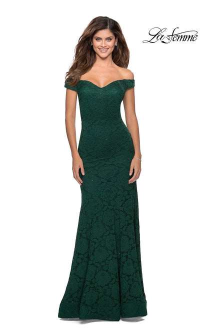 La Femme LF28545 long emerald green prom tight fitted, off shoulder mermaid, lace sexy prom dress with open back. This dark green or hunter green v neck sleek and sexy, low back formal full length evening gown is perfect for 2020 prom dresses